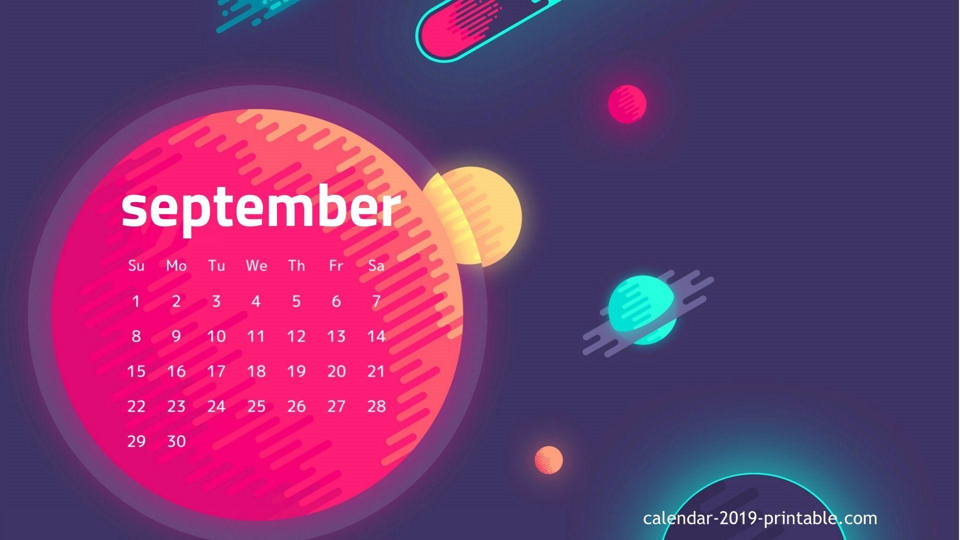 September 2019 Screensaver Calendar Wallpaper