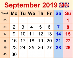 September 2019 UK Holidays Calendar