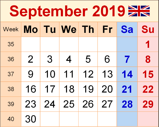 September 2019 UK Holidays Calendar