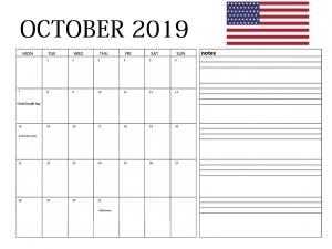 USA October 2019 Holidays Calendar