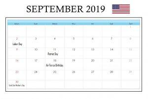 USA September 2019 Holidays Calendar