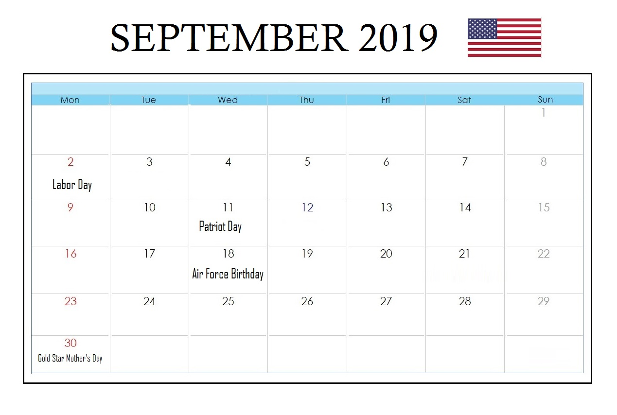 USA September 2019 Holidays Calendar