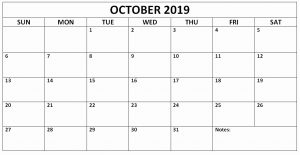 Blank Calendar October 2019 PrintableBlank Calendar October 2019 Printable