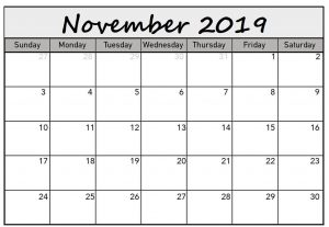 Blank Calendar Pages November 2019