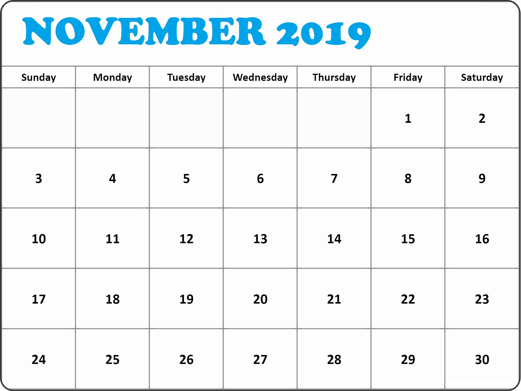 image about Free Printable November Calendar named No cost Printable November 2019 Calendar Template Blank With Notes