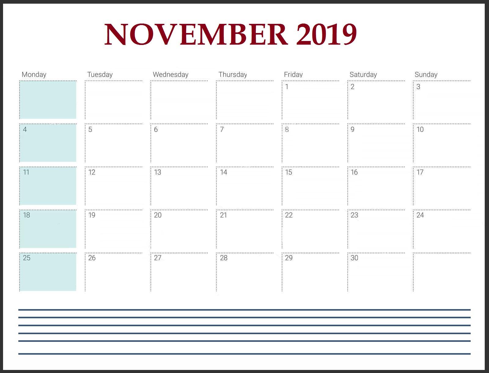 Blank November 2019 Desk Calendar