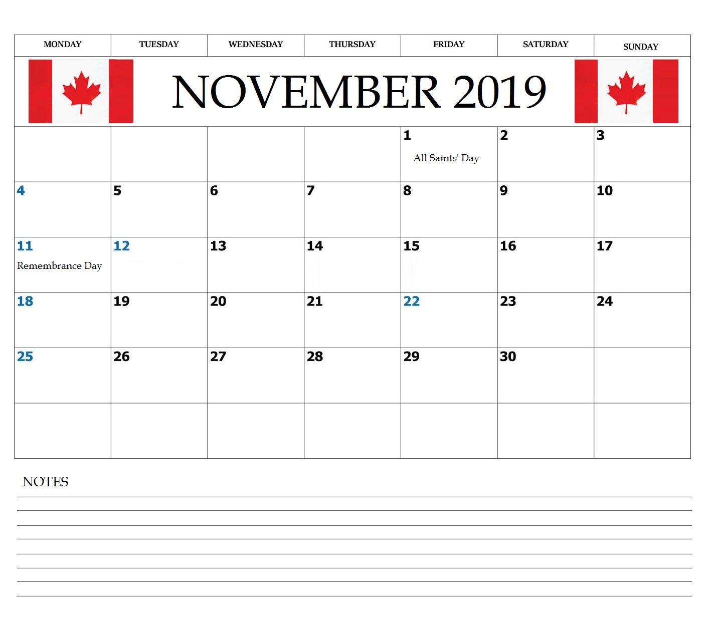 Canada November 2019 Bank Holidays Calendar