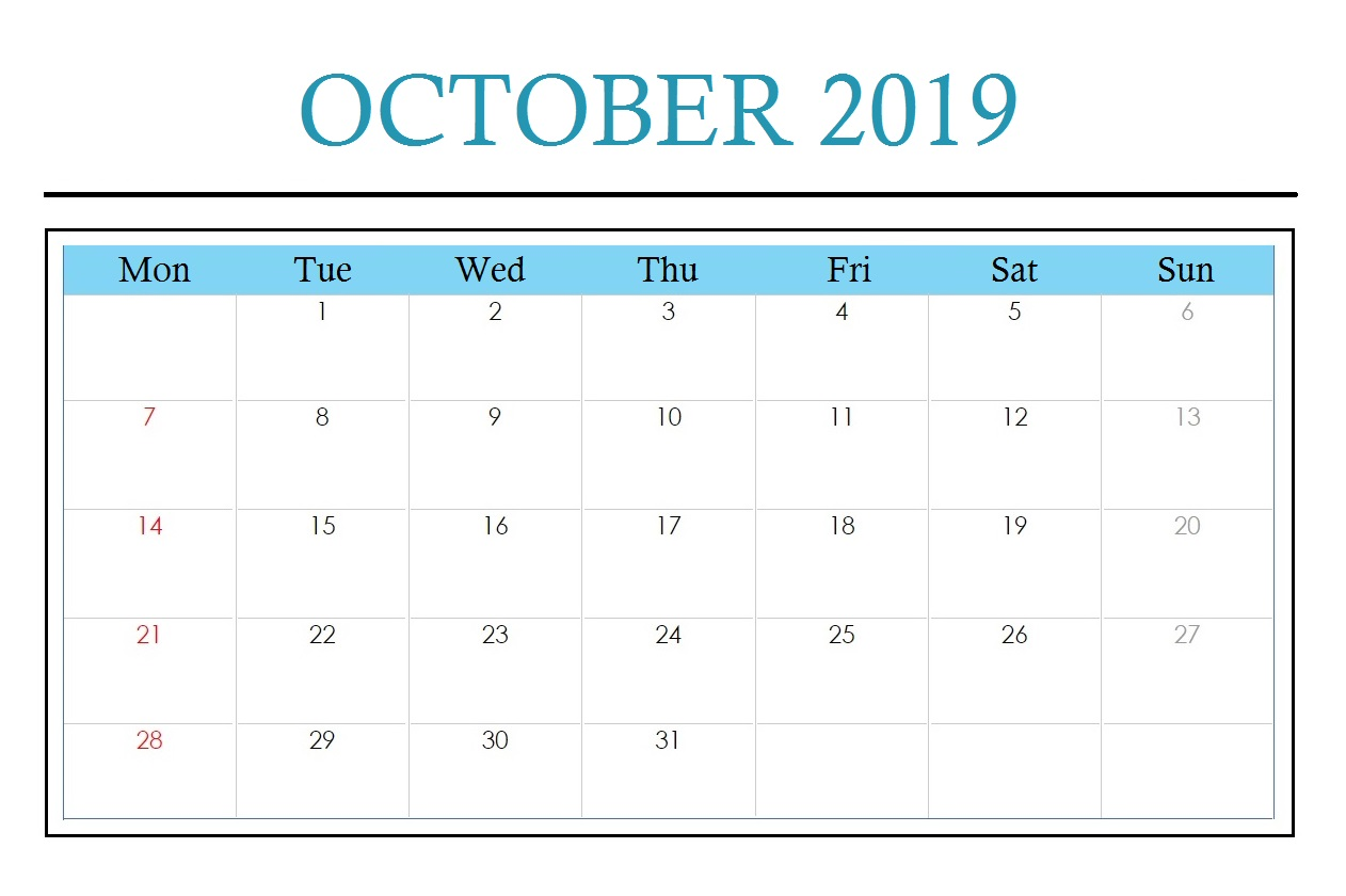 Cute October 2019 Calendar Background