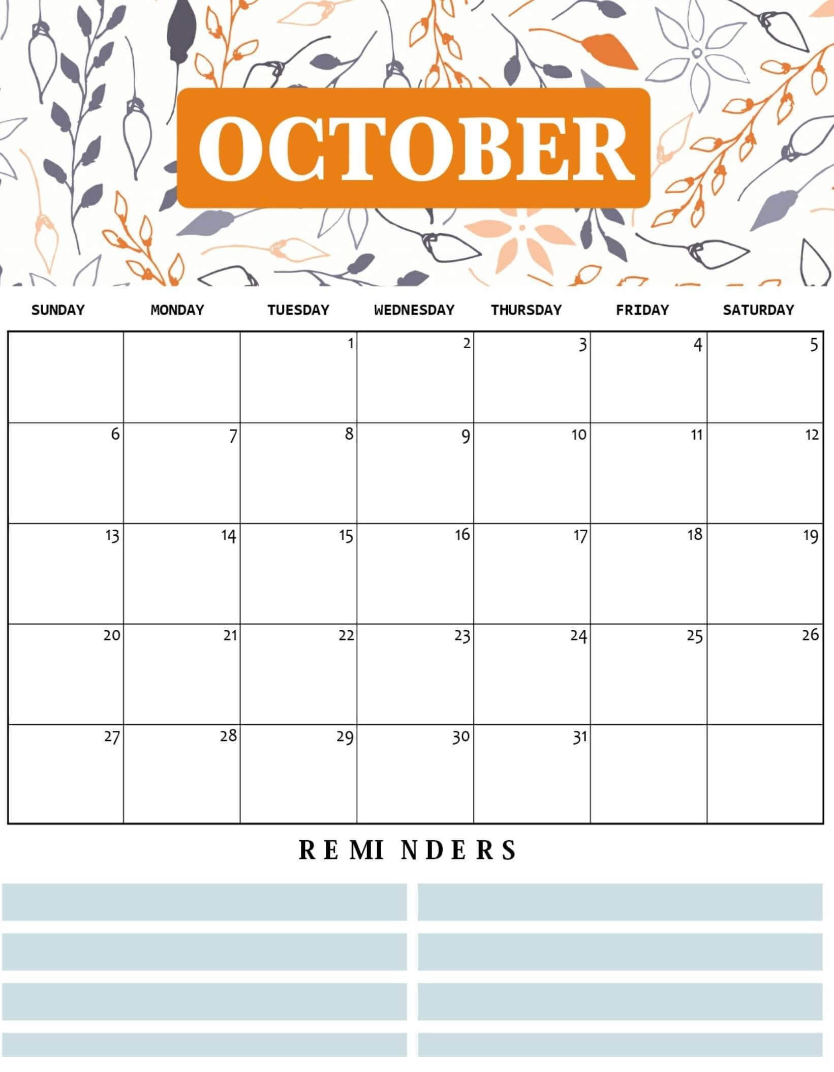 Cute October 2019 Calendar Word