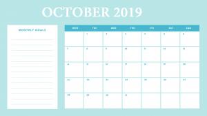 Cute October 2019 Desk Calendar