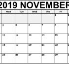 Decorative November Blank Calendar 2019
