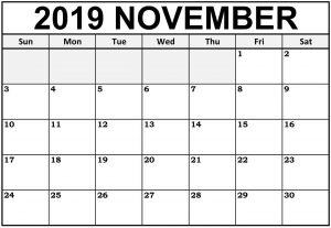 Decorative November Blank Calendar 2019