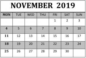 Edit November 2019 Calendar Template