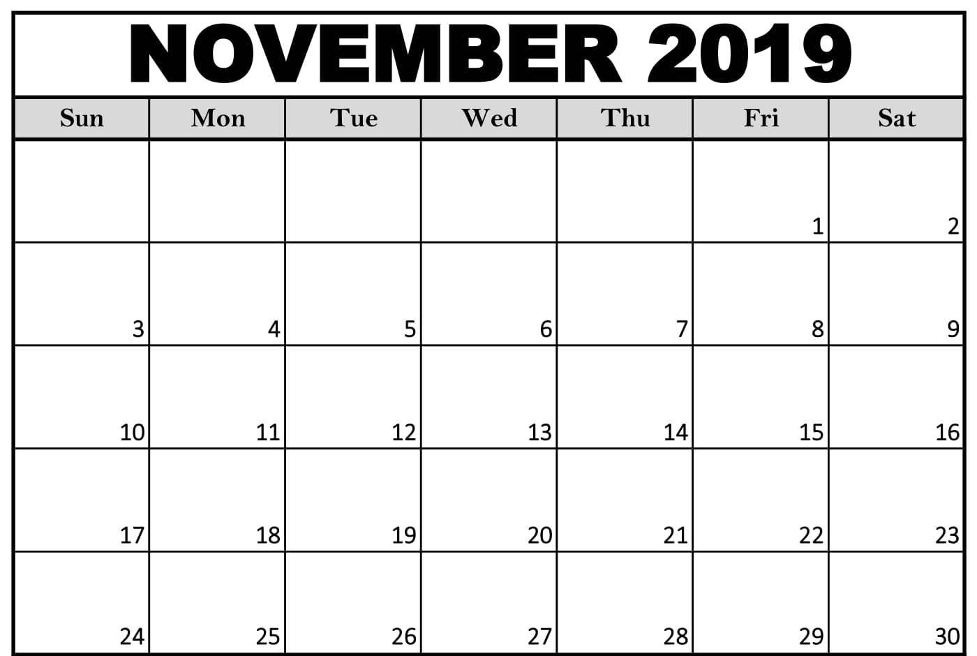 Editable November 2019 Blank Calendar