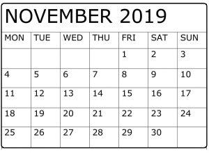 Editable November 2019 Calendar Blank Template
