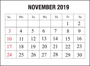 Editable November 2019 Calendar Word
