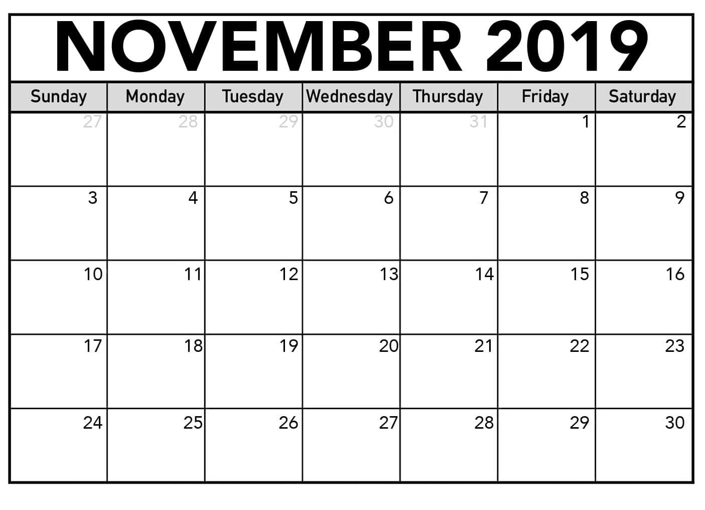 Editable November 2019 Calendar