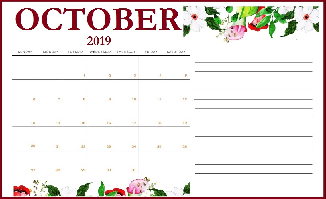 Floral Calendar October 2019