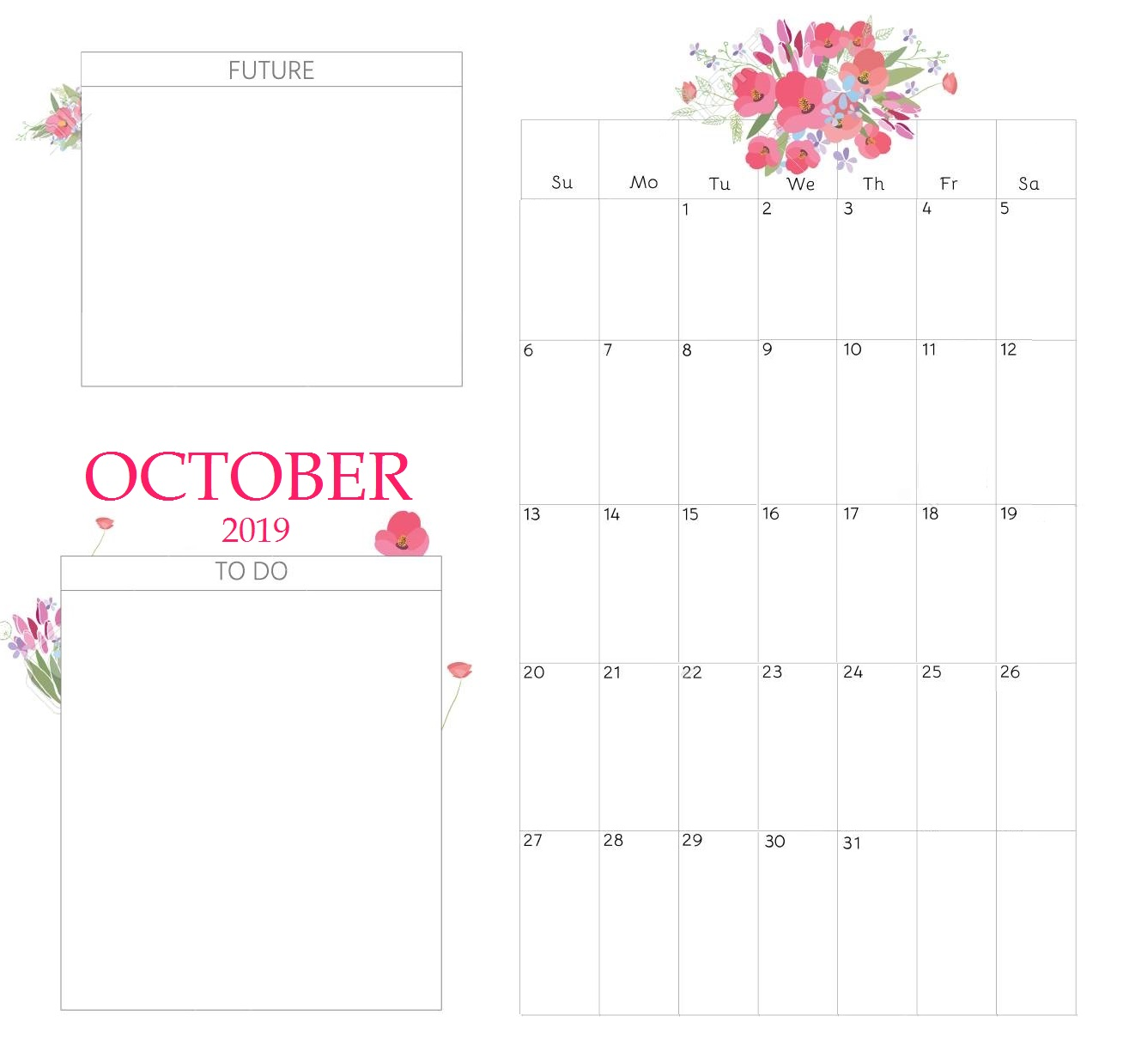 Floral October 2019 Calendar Cute