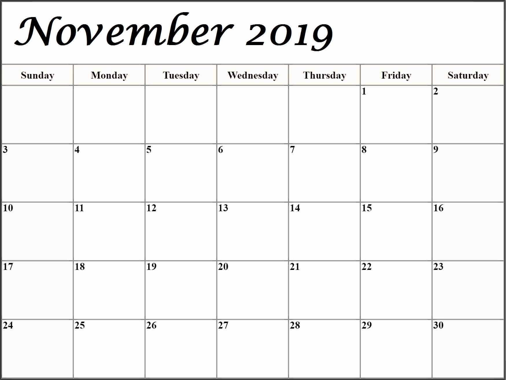 Free Printable Calendar November 2019 Template