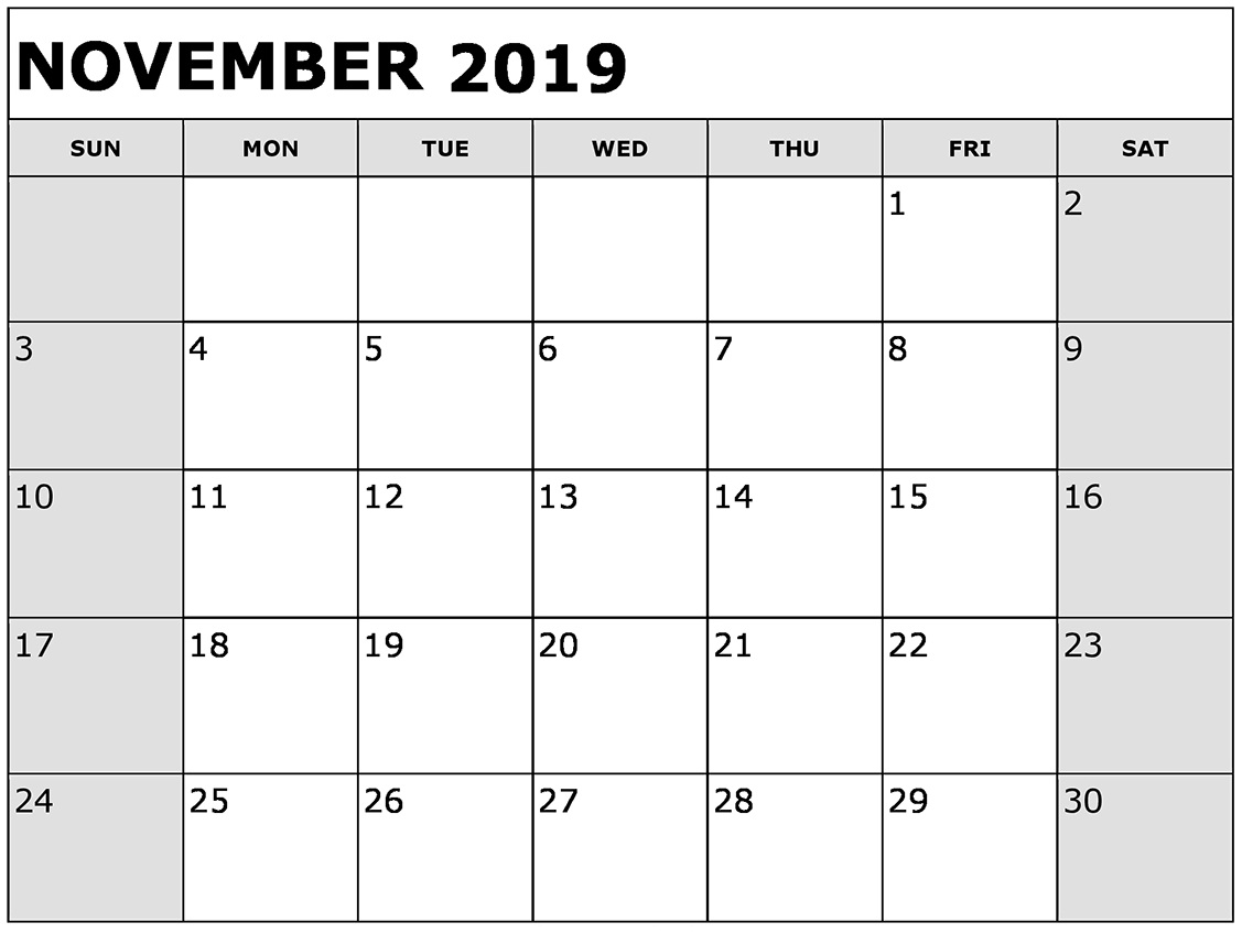 Monthly Calendar Template November 2019