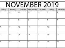 Monthly Editable Calendar November 2019