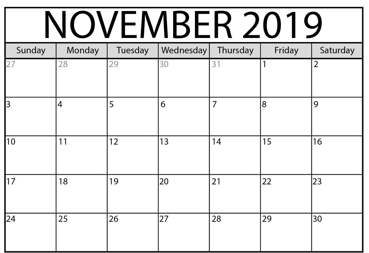 Monthly Editable Calendar November 2019