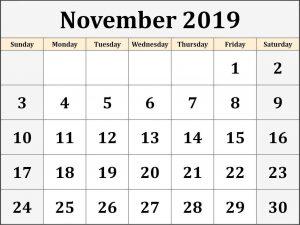 Monthly Free Printable Calendar November 2019