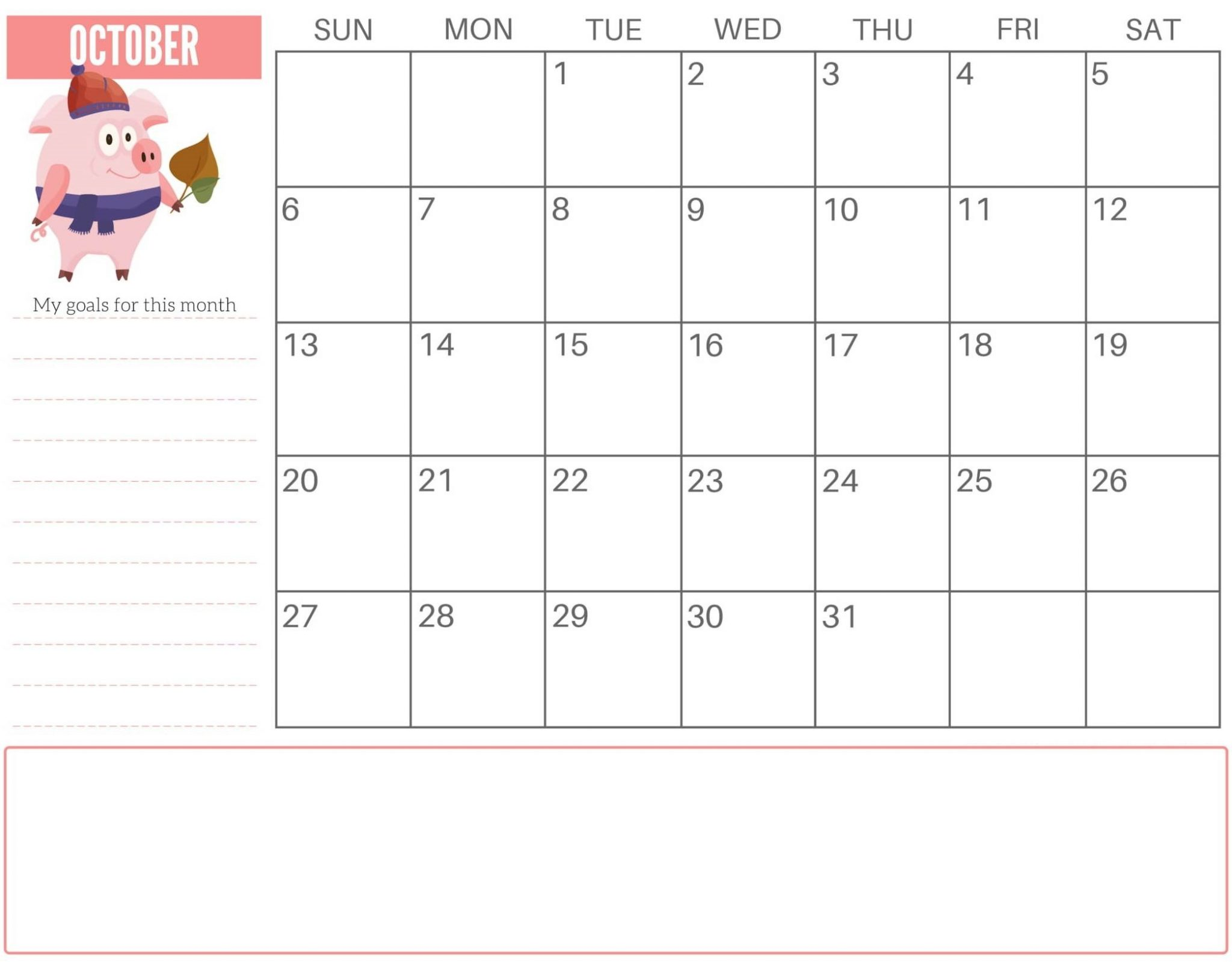 Monthly October 2019 Calendar Cute