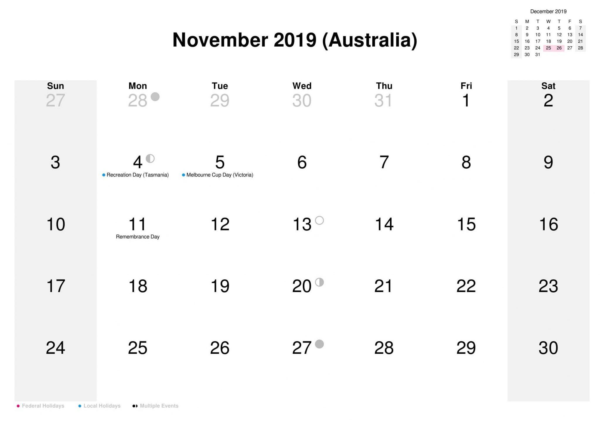 November 2019 Australia Holidays Calendar