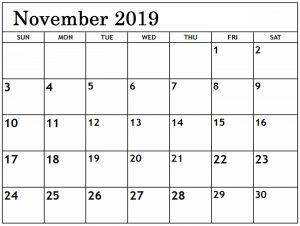 November 2019 Blank Calendar Editable