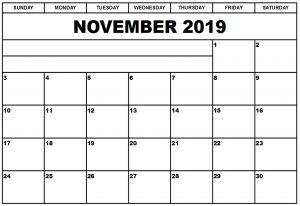 November 2019 Calendar In Excel Template