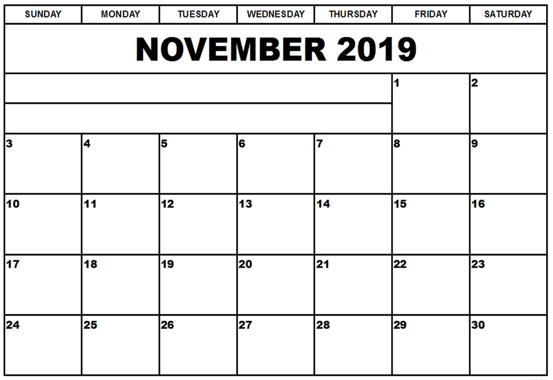November 2019 Calendar In Excel Template