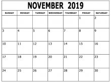November 2019 Calendar Template Excel