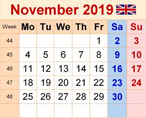 November 2019 Calendar UK