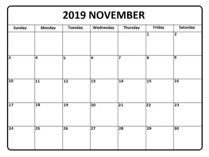 November 2019 Editable Calendar