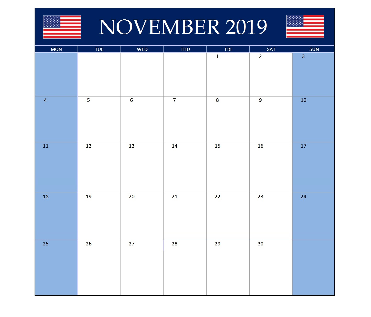 November 2019 United States Holidays Calendar