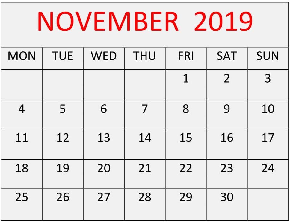 November Printable Calendar 2019