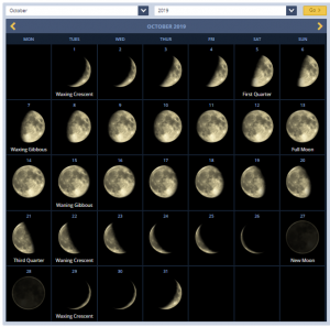 October 2019 Calendar With Lunar Phases