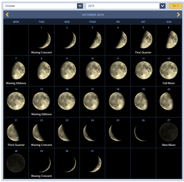 October 2019 Calendar With Lunar Phases