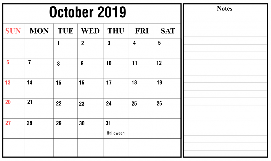 October 2019 Editable Calendar with Notes