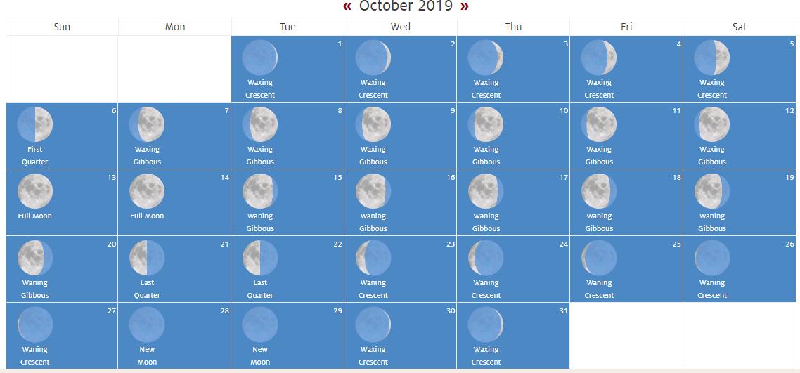 October 2019 Full Moon Calendar