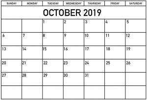 October Calendar 2019 Printable