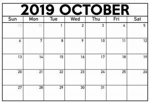 October Calendar 2019 Printable PDF