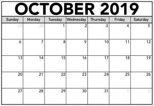 October Printable Calendar 2019 Word