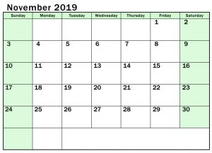 Online November 2019 Printable Calendar
