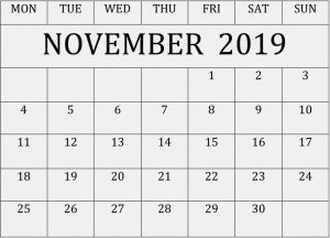 Personalized Calendar Of November 2019
