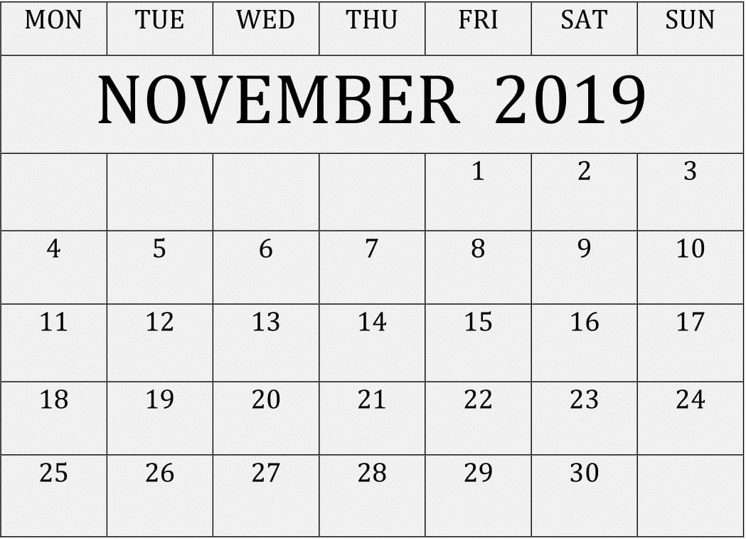 Personalized Calendar Of November 2019