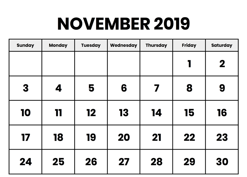 Print Blank Calendar November 2019