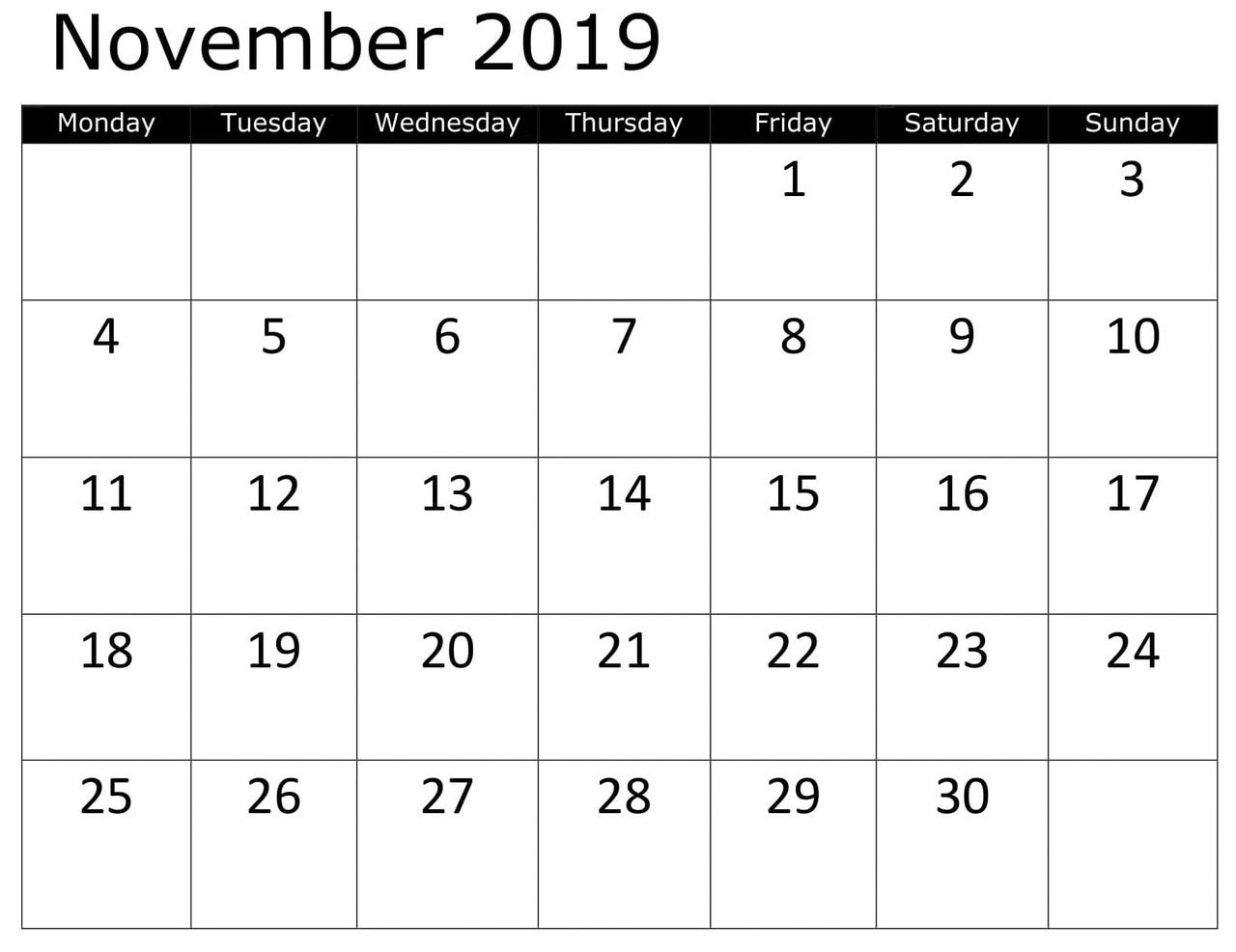 Printable Calendar November 2019